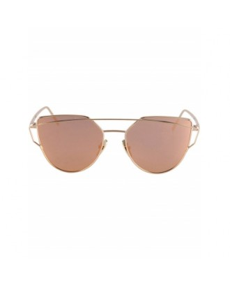 Metal Bar Golden Frame Pilot Sunglasses For Women