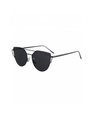 Metal Bar Black Frame Sunglasses For Women