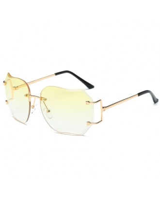 Oversized Designer Clear Lens Sunglasses Rimless Metal Frame Eye Glasses Lady SU