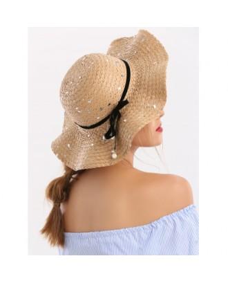 Detachable Ribbon Bowknot Sequin Straw Hat