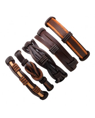 5 Pcs Punk Leisure Leather Bracelet