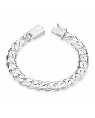 10MM Square Buckle Side Tattoo  Men\'s Geometric Silver Chain Bracelet