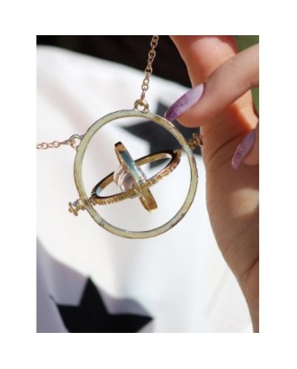 Alloy Sand Clock Pendant Necklace