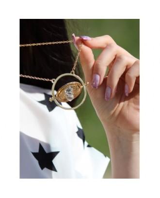 Alloy Sand Clock Pendant Necklace