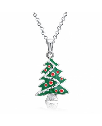 Christmas Dripping Oil Christmas Tree Necklace White/Platinum Plated