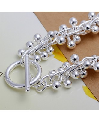 Classic Silver Plated Grape Link Bracelet
