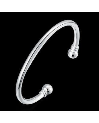 Male Double Bead Bracelet Fashion Circular Shape Silver Bracelet