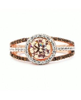 Luxury Exquisite Rose Gold Gemstone Diamond Charm Crystal Bride Princess Ring