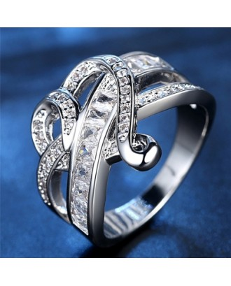 Fashionable Diamond Crystal Heart Ring