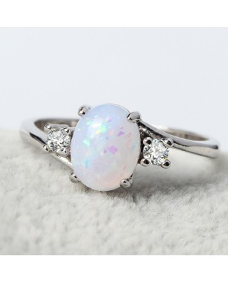 Oval Cut Opal Diamond Ring Birthday Gift