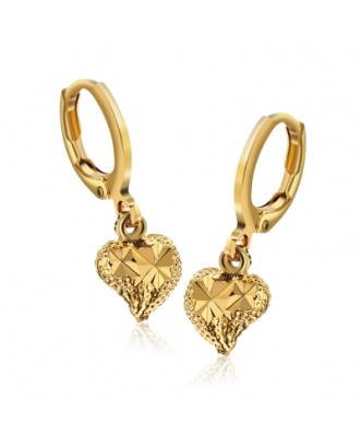 Cute Hearts Shapes 18K Electroplate Gold Color Earrings for Women