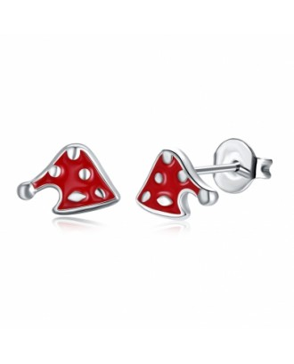 Christmas Oil Dripping Christmas Hat Earring Plated with Platinum