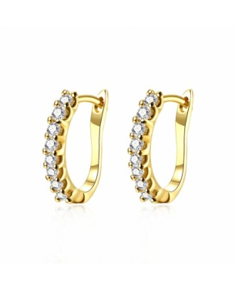 Fashion K Gold Fashion Diamond Set Earring Buckle Plated with Gold