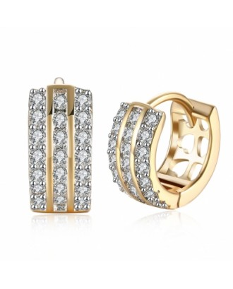 Three Rows of Diamond Set Romantic Wind Earrings with K Gold Zircon Earring Clip