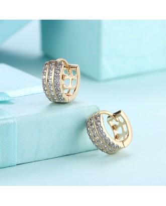 Three Rows of Diamond Set Romantic Wind Earrings with K Gold Zircon Earring Clip
