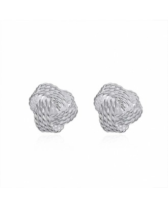 Tennis Ear Ball Silver Ornament Simple Woven Ear Stud