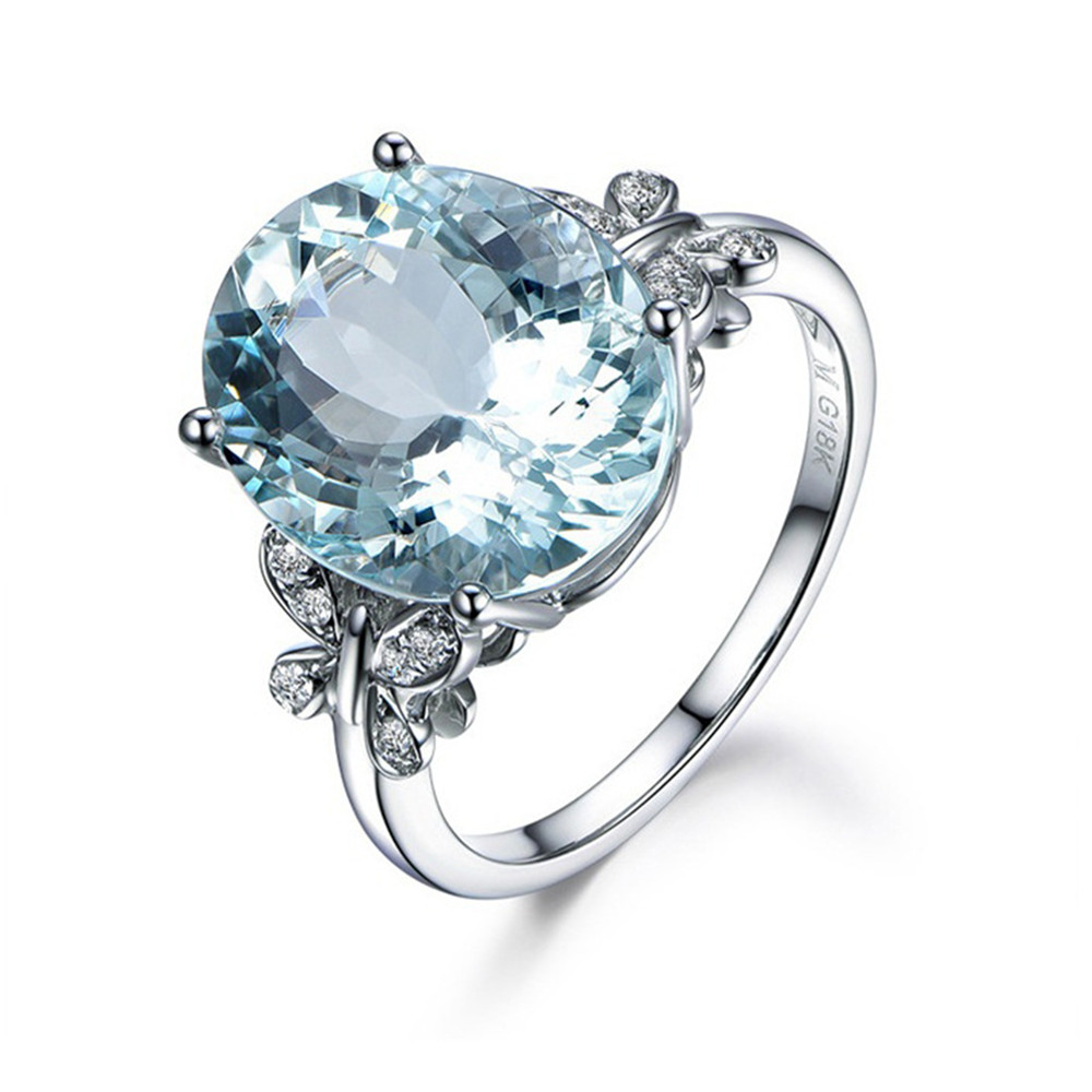 Fashion Natural Sea Blue Topaz Butterfly Ring